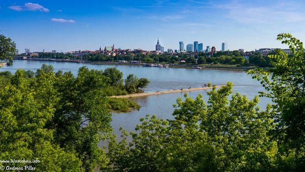 Panorama Warschau mit Weichsel