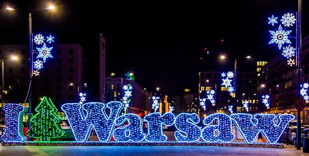 I Warsaw Weihnachtsbeleuchtung